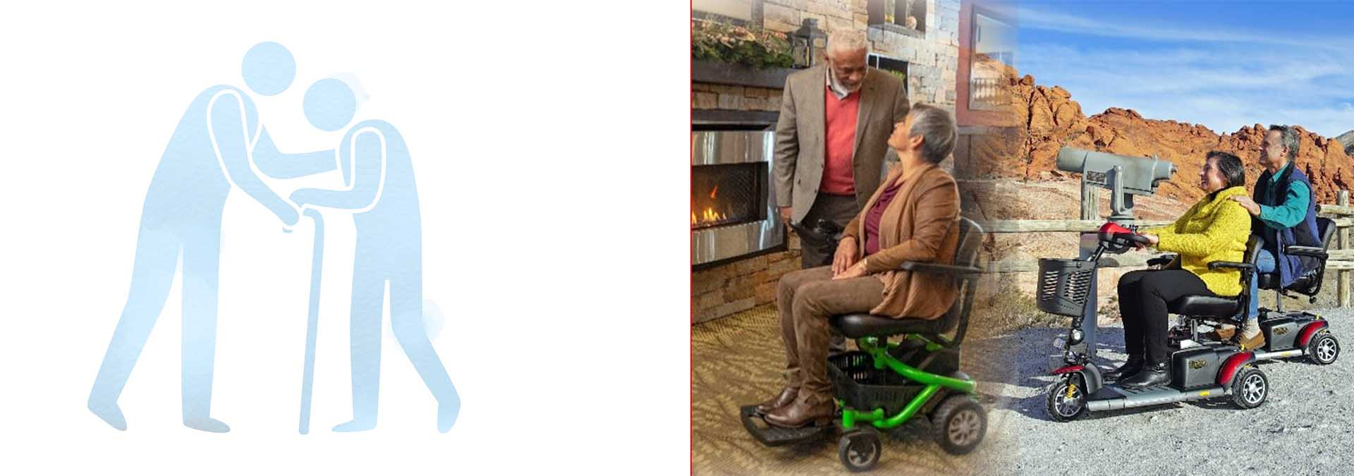 woman on electric wheelchair near fireplace and couple on mobility scooters sightseeing-