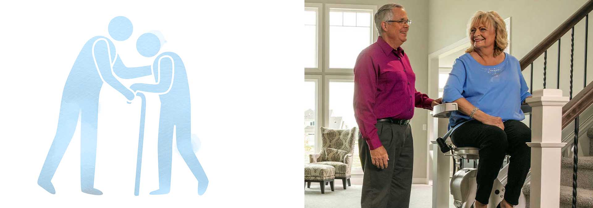 woman smiling on stairlift-man standing-